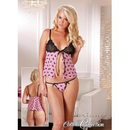 Babydoll nero e rosa con perizoma
